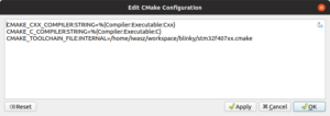 CMake config window